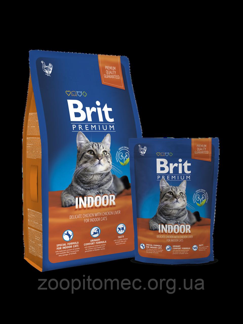 Корм Brit Premium (Брит Премиум) Cat Indoor для домашних кошек курица в соусе, 8 кг
