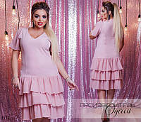 Платье короткий рукав юбка рюшами шифон 48,50,52,54,56,58