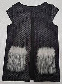 Жилетка с меховыми карманами р.134-152 чёрный+напыление