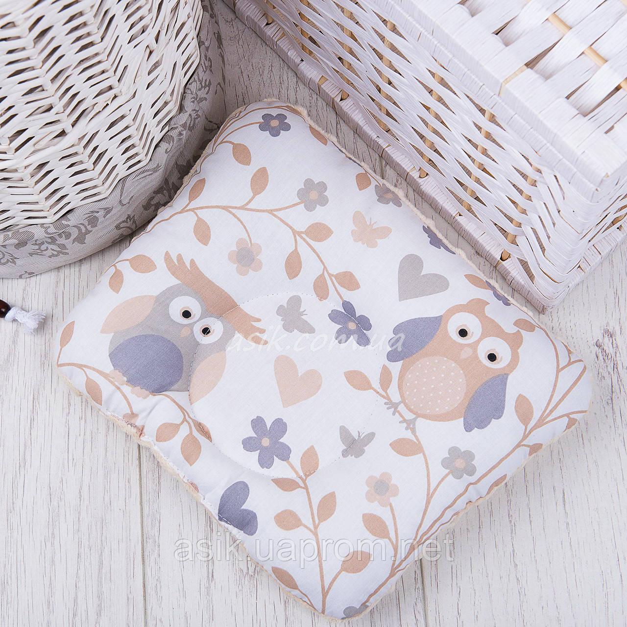 """Подушка для новорожденных с плюшем """"Серо-бежевые совы"""""""
