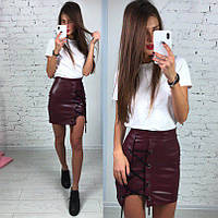 Женская стильная юбка со шнуровкой, в расцветках