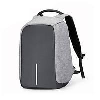 """Городской рюкзак антивор под ноутбук 15,6"""" Бобби Bobby с USB серо-черный, для ноутбука, портфель, фото 1"""