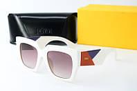 Солнцезащитные очки квадратные Fendi белые, фото 1