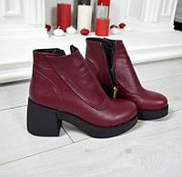 Женские демисезонные ботинки марсала Walter натур кожа