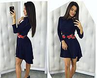Женское платье-рубашка с вышивкой