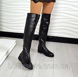 Стильные женские черные ботфорты натур кожа Lora на флисе Деми