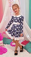 Детское платье в садик Радуга р. 104-122 джинс+белый