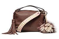 """Модная практичная качественная женская кожаная сумка """"Rose+Milk"""", цвет сливовый, темно розовый."""