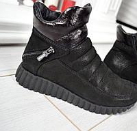 Демиезонные женские черные ботинки кроссовки натур замш сатин