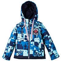 Детские демисезонные куртки-жилетки трансформеры мальчикам р.104-122, цвет синий-бирюза
