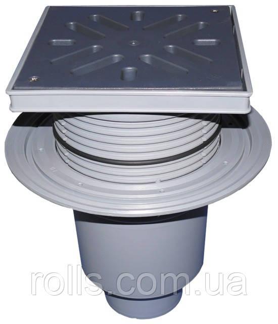 HL616L/5 Дворовый трап серии Perfekt DN160 верт. с фланцем, с морозоустойчивой запахозапирающей заслонкой