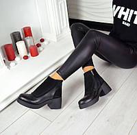 Женские демисезонные черные ботинки замш и кожа Walter