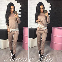 Костюм женский теплый с кружевом повседневный кофта и штаны базовые, фото 2