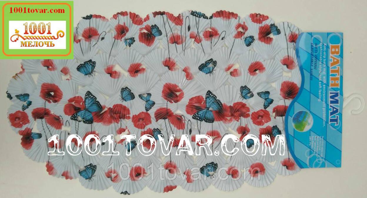 Антиковзаючий килимок для ванної на присосках Маки і метелики