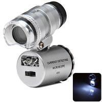 Карманный мини-микроскоп 60х, со светодиодной подсветкой