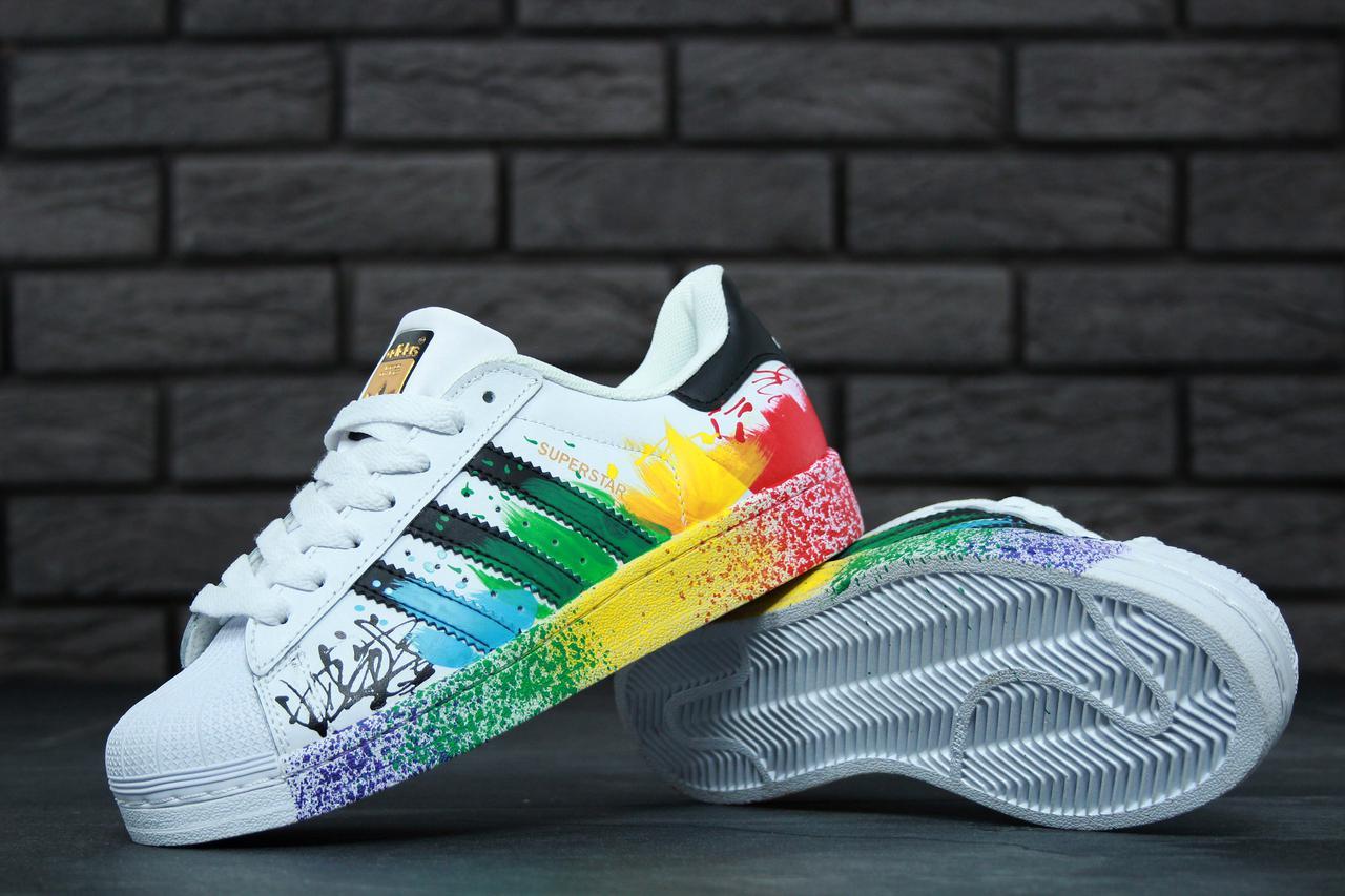 ... Женские кроссовки Adidas Superstar ii rainbow paint splatter white bla  4 ... 32a47afa9c9c