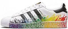 Женские кроссовки AD Superstar ii rainbow paint splatter white black. ТОП Реплика ААА класса.