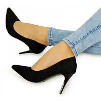 03-12 Черные женские туфли на шпильке NLS-154415 37,38,36,40