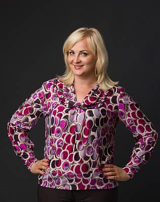 Блуза женская больших размеров длинный рукав