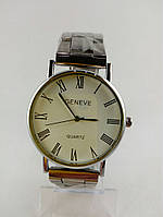 Часы наручные, Цвет серебро, Металлический браслет, Римские цифры, Прагматичный циферблат, Geneva.