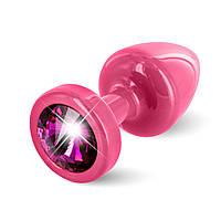 Анальная пробка со стразом Diogol ANNI round pink Рубин 25мм