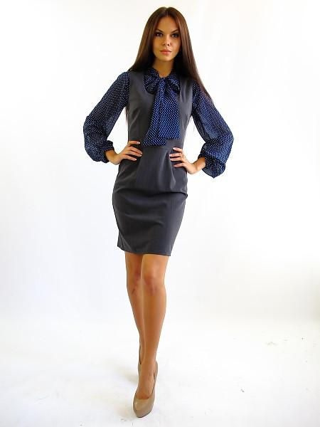 Жіночий сірий сарафан офісного стилю