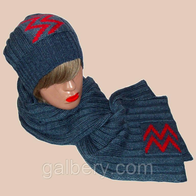 """Вязаная женская шапка - носок и шарф с аппликацией """"красные молнии"""""""