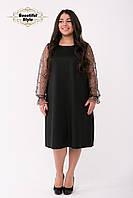 Коктейльное чёрное платье с рукавами из сетки Джоан