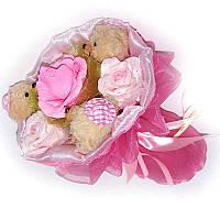 Букет из мягких игрушек Мишки 3 с конфетой