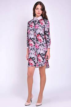 Женское платье прямого кроя цветочный принт