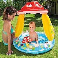 Intex 57114 (102 х 89 см.) детский надувной бассейн с навесом «Грибочек» Бассейн для детей от 1 года до 3 лет.