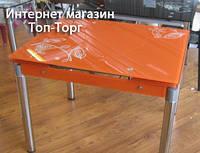 Стол Франческа оранжевый+матовые ножки, стеклянный, раскладной Киев