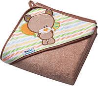 """Детские полотенца с капюшоном уголком """"Ведмедик"""" BabyОno™ 76х76см махровое"""