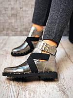 Ботинки с ремешками Tres. Натуральная кожа, внутри байка. Подошва 2 см  Р-р 36-40 Цвет: никель
