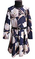 Платье подростковое с длинным рукавом Татьяна 128, 134, 140, 146см крупний цветочний принт на синем фоне