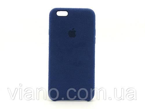 Замшевый чехол iPhone 6/6S (Тёмно-синий) Alcantara case