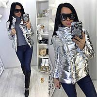 Молодежная весенняя женская куртка-косуха, серебристого цвета арт 4177-10