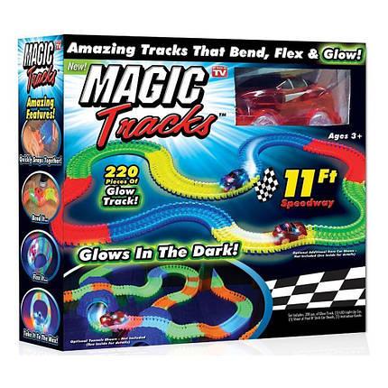 Детский гибкий гоночный трек FYD170205-B. 220 деталей. Светится в темноте (аналог Magic Tracks), фото 2