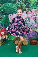 Детское платье Моника 104, 110, 116, 122см трикотаж с ангорой цветочный принт на темно-синем фоне цвети