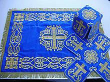 Литургический комплект вышитый на бархате, синий