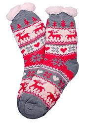 Носки тапочки женские BaGi Wool Сердечко Малиновый