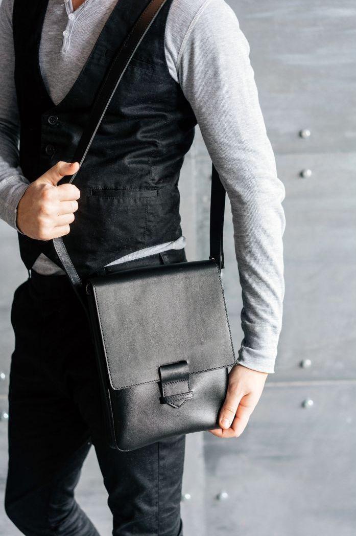 ad985c0f75cc Сумка-планшет кожаная мужская черная (ручная работа)- купить по ...