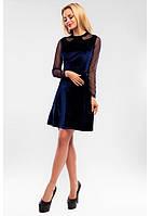 Красивое платье из бархата, трикотажа и рукавов в виде сетки