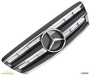 Решетка радиатора Mercedes W220 рестайл стиль AMG (глянц + хром полоски)