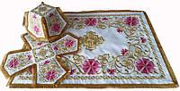 Литургический комплект вышитый габардин, белый №01
