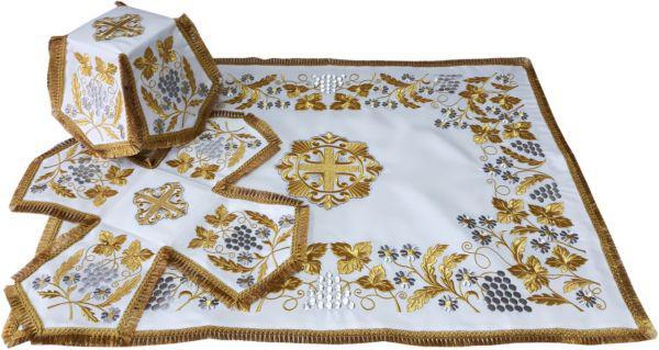 Литургический комплект вышитый габардин, белый