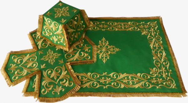 Литургический комплект вышитый габардин, зеленый