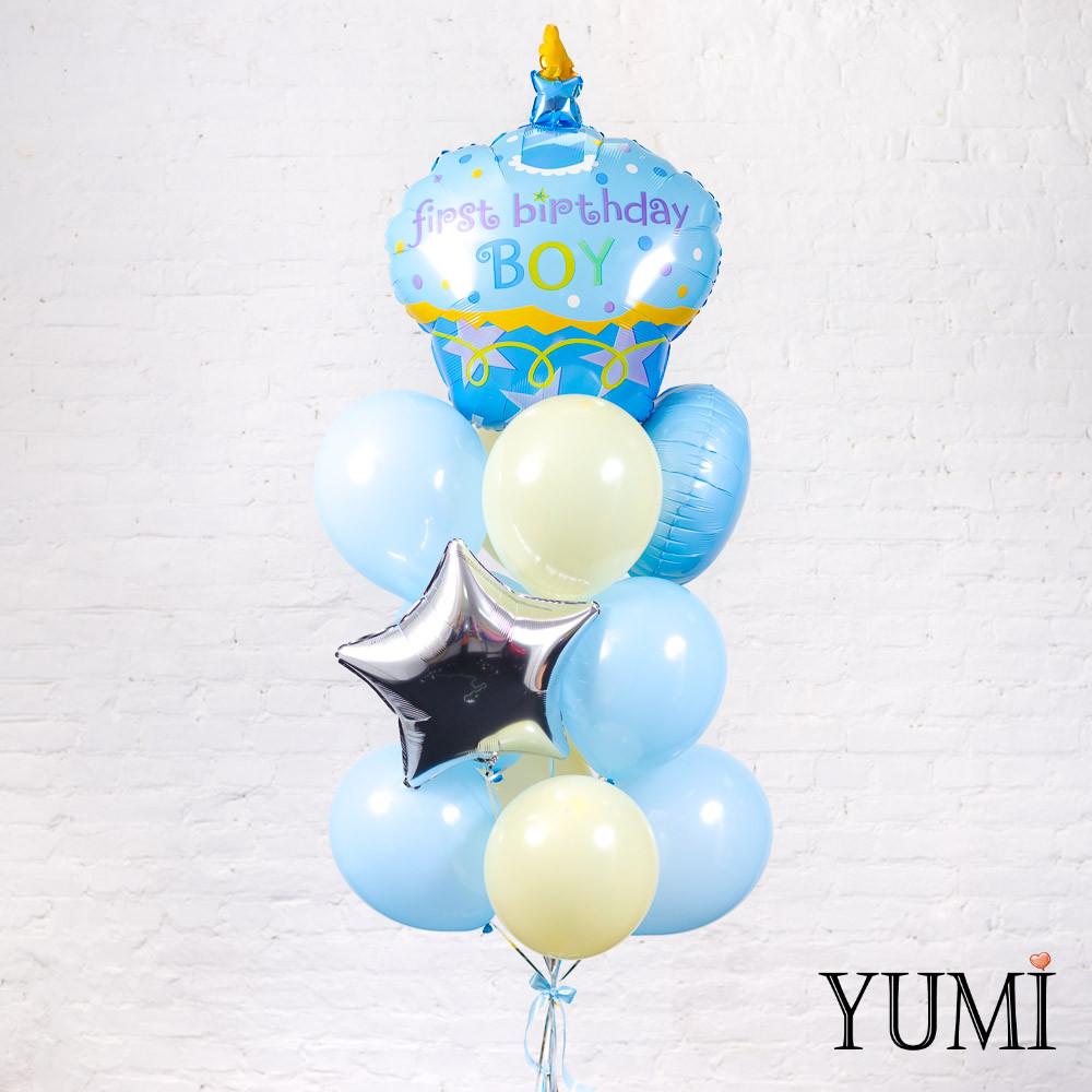 Милая связка из гелиевых шаров на первый День Рождения мальчика