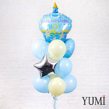 Милая связка из гелиевых шаров на первый День Рождения мальчика, фото 2