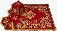 Литургический комплект вышитый габардин, красный №01